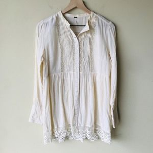 Free People gauze embroidered tunic